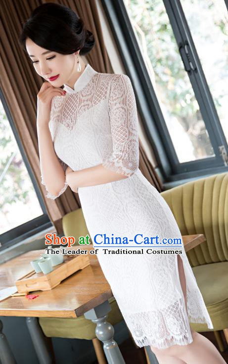 Chinese Traditional Elegant White Lace Cheongsam National Costume Qipao Dress for Women