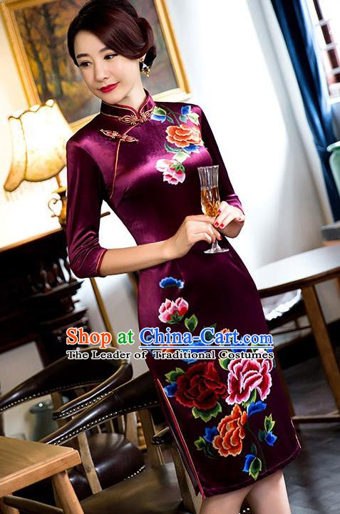 Chinese Traditional Elegant Amaranth Cheongsam National Costume Qipao Dress for Women