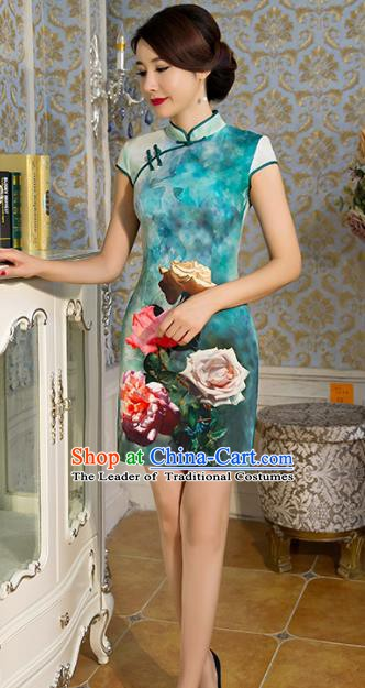 Chinese Traditional Elegant Printing Rose Green Cheongsam National Costume Qipao Dress for Women