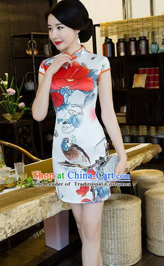 Chinese Traditional Elegant Printing Short Cheongsam National Costume Qipao Dress for Women