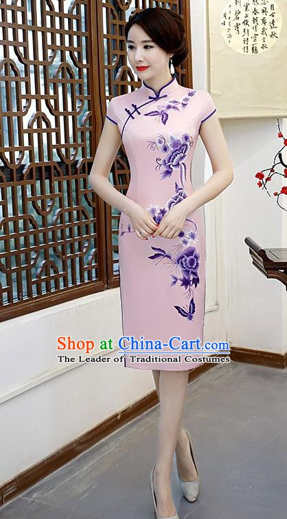 Chinese Traditional Elegant Retro Cheongsam National Costume Printing Peony Pink Qipao Dress for Women