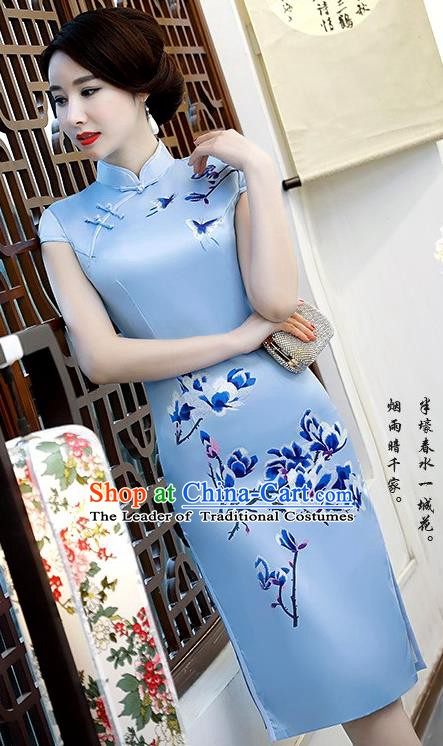 Chinese Traditional Elegant Retro Cheongsam National Costume Printing Mangnolia Blue Qipao Dress for Women