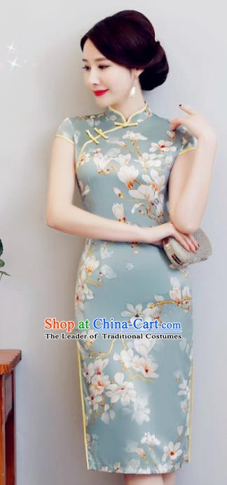 Chinese Traditional Elegant Cheongsam National Costume Printing Mangnolia Qipao Dress for Women