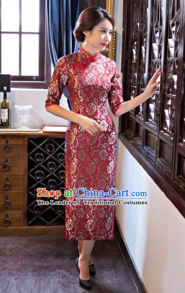 Chinese Traditional Elegant Cheongsam National Costume Red Qipao Dress for Women