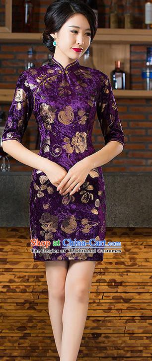 Chinese Traditional Elegant Cheongsam National Costume Purple Pleuche Short Qipao Dress for Women