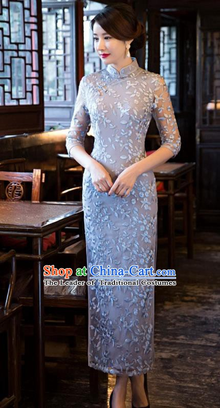 Chinese Traditional Elegant Cheongsam National Costume Blue Embroidered Qipao Dress for Women