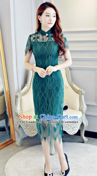Chinese Traditional Elegant Peacock Green Lace Cheongsam National Costume Qipao Dress for Women