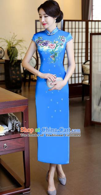 Chinese Traditional Elegant Blue Silk Cheongsam National Costume Printing Qipao Dress for Women