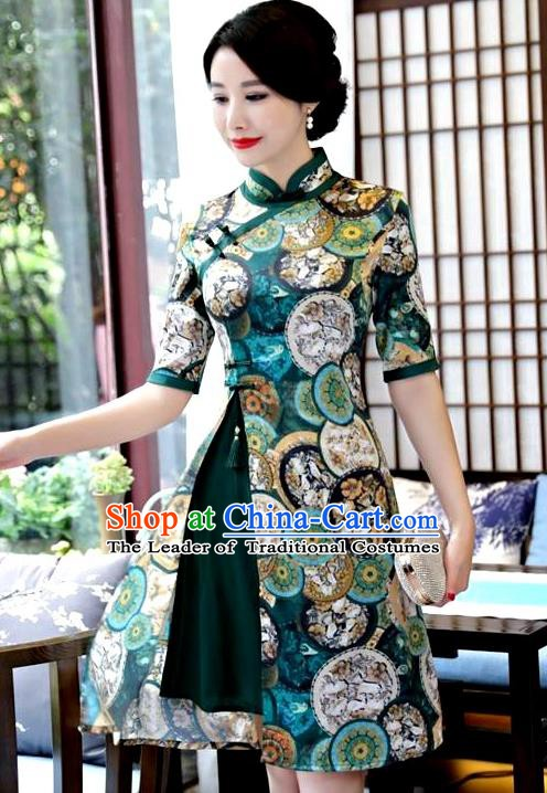 Chinese Traditional Elegant Green Watered Gauze Cheongsam National Costume Printing Qipao Dress for Women