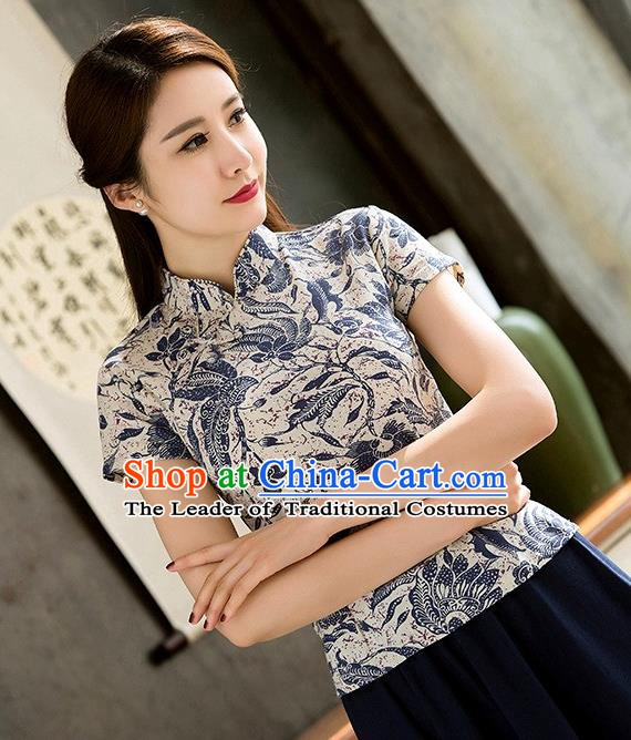 Chinese Traditional Elegant Cheongsam Blouse National Costume Tang Suit Qipao Short Shirts for Women