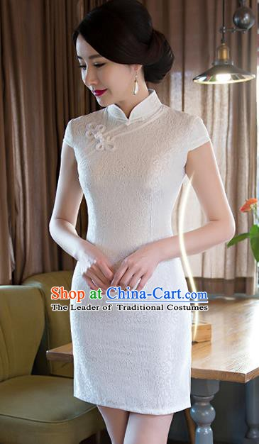 Chinese Traditional Elegant White Short Cheongsam National Costume Retro Qipao Dress for Women