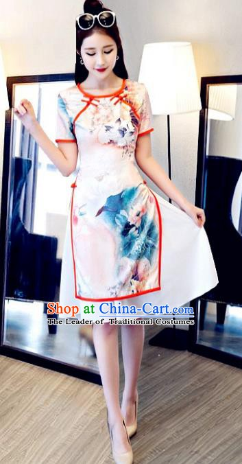 Chinese Traditional Elegant Printing Pink Cheongsam National Costume Retro Qipao Dress for Women