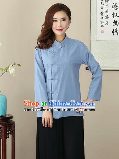 Chinese Traditional National Costume Blue Linen Blouse Tang Suit Qipao Short Shirts for Women