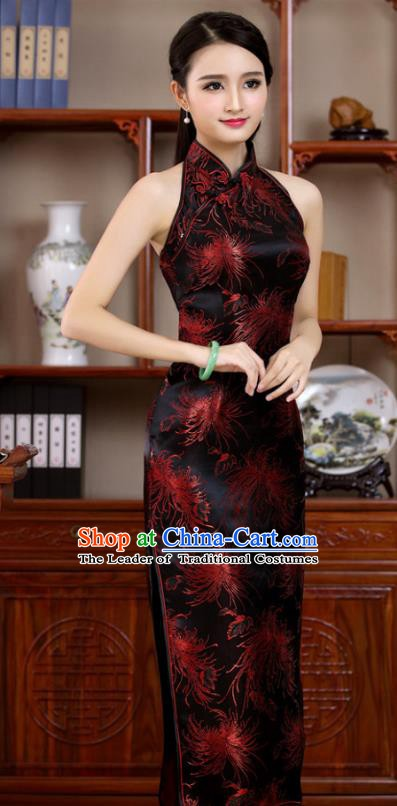 Top Grade Chinese National Costume Elegant Black Brocade Cheongsam Tang Suit Qipao Dress for Women
