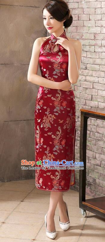 Top Grade Chinese National Costume Elegant Wine Red Brocade Cheongsam Tang Suit Qipao Dress for Women