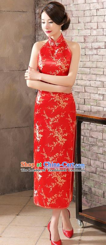 Top Grade Chinese National Costume Elegant Plum Blossom Brocade Cheongsam Tang Suit Red Qipao Dress for Women