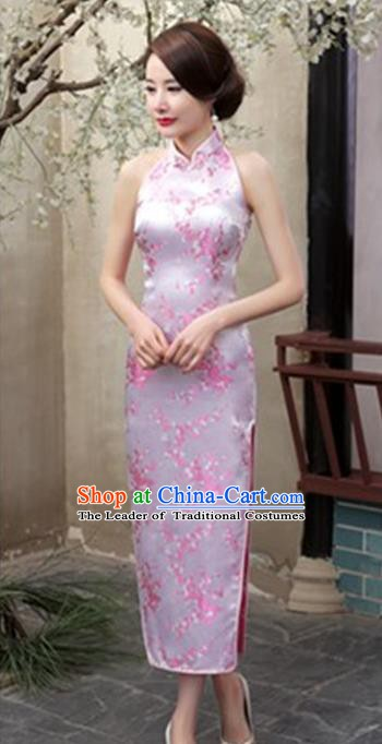 Top Grade Chinese National Costume Elegant Plum Blossom Brocade Cheongsam Tang Suit Pink Qipao Dress for Women