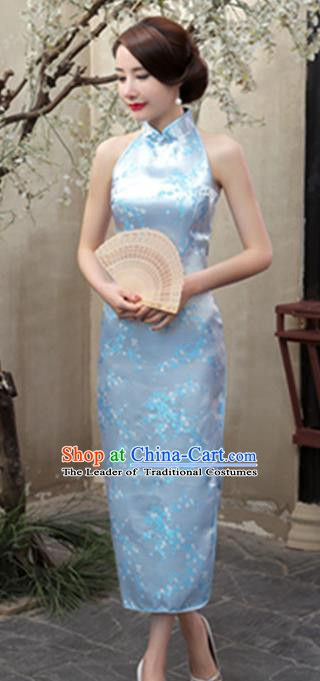 Top Grade Chinese National Costume Elegant Plum Blossom Brocade Cheongsam Tang Suit Blue Qipao Dress for Women