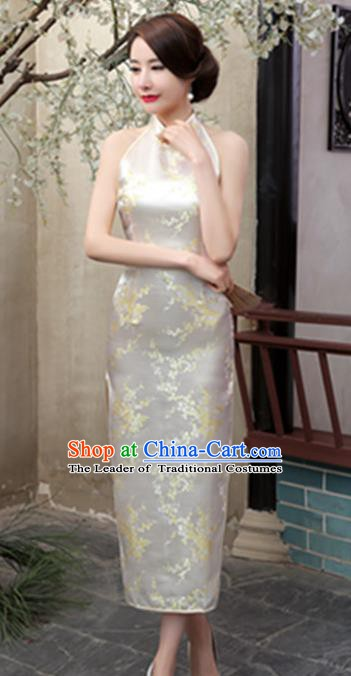 Top Grade Chinese National Costume Elegant Plum Blossom Brocade Cheongsam Tang Suit Beige Qipao Dress for Women