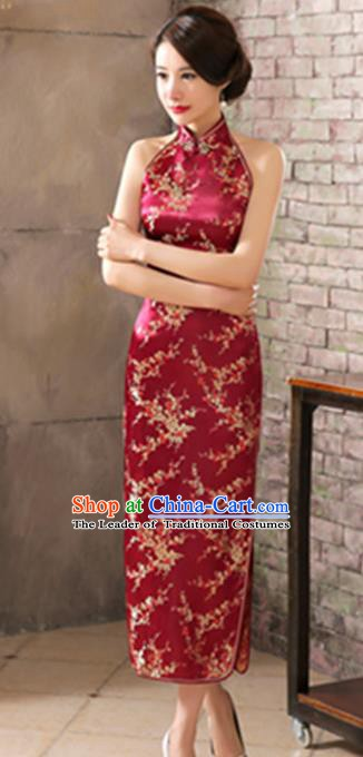 Top Grade Chinese National Costume Elegant Plum Blossom Brocade Cheongsam Tang Suit Wine Red Qipao Dress for Women