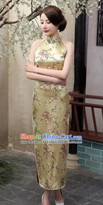 Top Grade Chinese National Costume Elegant Plum Blossom Brocade Cheongsam Tang Suit Yellow Qipao Dress for Women