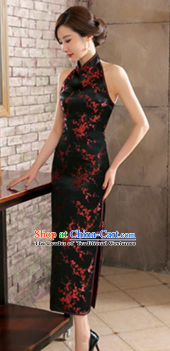 Top Grade Chinese National Costume Elegant Plum Blossom Brocade Cheongsam Tang Suit Black Qipao Dress for Women