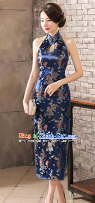 Top Grade Chinese National Costume Elegant Phoenix Brocade Cheongsam Tang Suit Royalblue Qipao Dress for Women