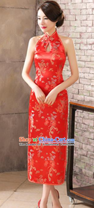 Top Grade Chinese National Costume Elegant Phoenix Brocade Cheongsam Tang Suit Red Qipao Dress for Women