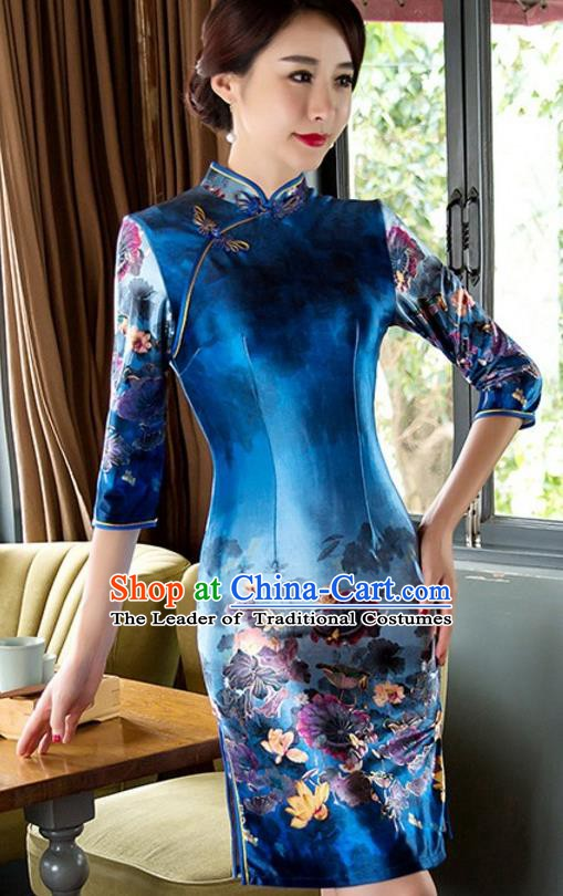 Top Grade Chinese National Costume Elegant Slim Cheongsam Tang Suit Printing Blue Qipao Dress for Women