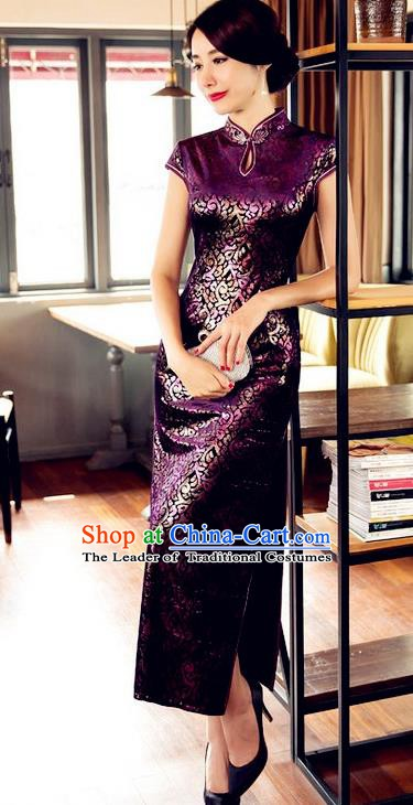 Top Grade Chinese National Costume Elegant Purple Brocade Cheongsam Tang Suit Qipao Dress for Women