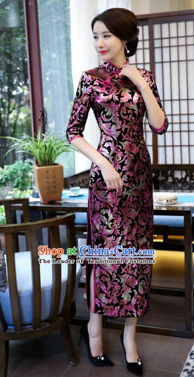 Top Grade Chinese National Costume Elegant Brocade Cheongsam Tang Suit Printing Qipao Dress for Women