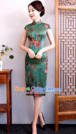 Chinese Traditional Elegant Cheongsam Green Silk Full Dress National Costume Retro Printing Flowers Qipao for Women