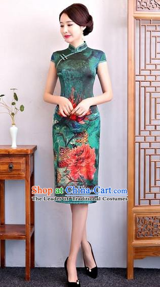 Chinese Traditional Elegant Cheongsam Top Grade Green Silk Full Dress National Costume Retro Printing Qipao for Women