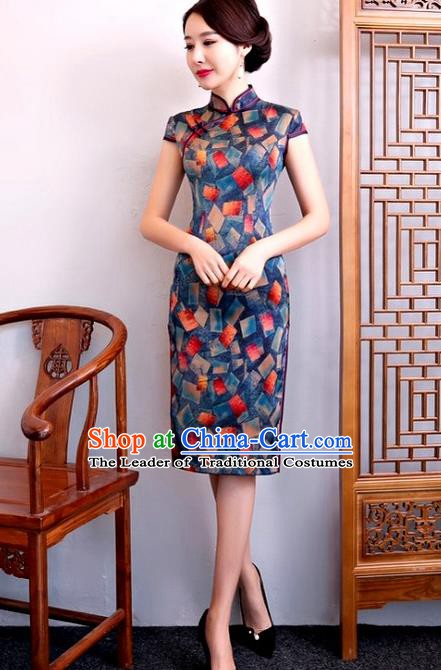 Chinese Traditional Elegant Cheongsam Top Grade Blue Silk Full Dress National Costume Retro Printing Qipao for Women