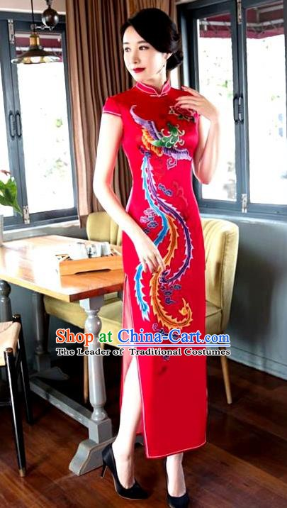 Chinese Traditional Elegant Cheongsam Wedding Red Satin Printing Phoenix Qipao National Costume for Women