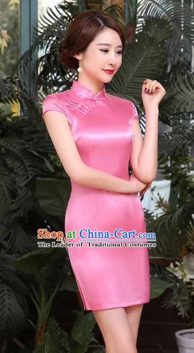 Chinese Traditional National Costume Elegant Cheongsam Pink Qipao Dress for Women