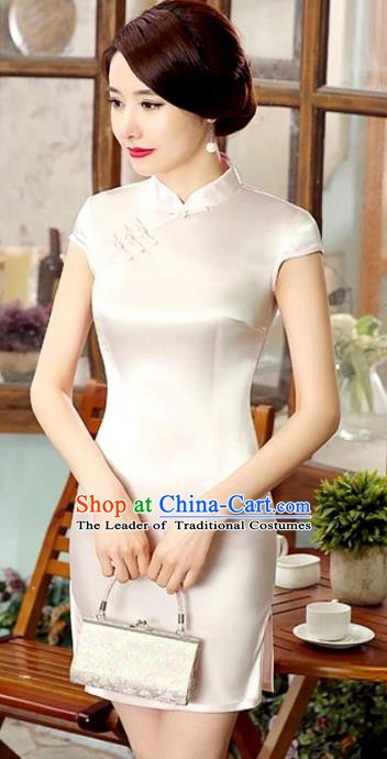 Chinese Traditional National Costume Elegant Cheongsam White Qipao Dress for Women