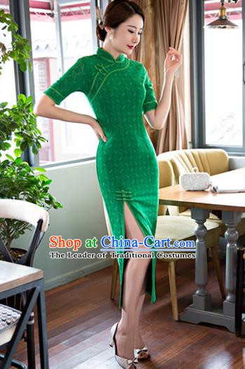 Chinese Traditional National Costume Elegant Cheongsam Green Lace Qipao Dress for Women
