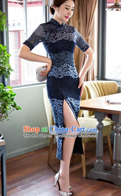 Chinese Traditional National Costume Elegant Cheongsam Blue Lace Qipao Dress for Women
