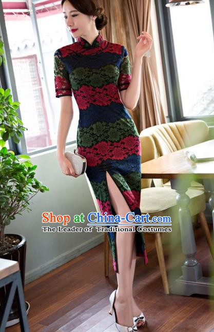 Chinese Traditional National Costume Elegant Lace Cheongsam Qipao Dress for Women