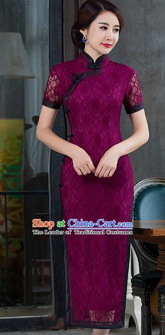 Chinese Traditional National Costume Elegant Amaranth Lace Cheongsam Qipao Dress for Women
