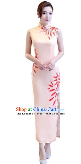 Chinese Traditional National Costume Elegant Cheongsam Printing Pink Qipao Dress for Women