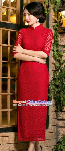 Chinese Traditional National Costume Elegant Red Lace Cheongsam Qipao Dress for Women