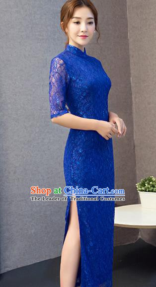 Chinese Traditional National Costume Elegant Blue Lace Cheongsam Qipao Dress for Women