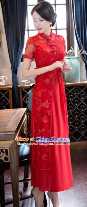 Chinese Traditional National Costume Elegant Embroidered Red Lace Cheongsam Qipao Dress for Women