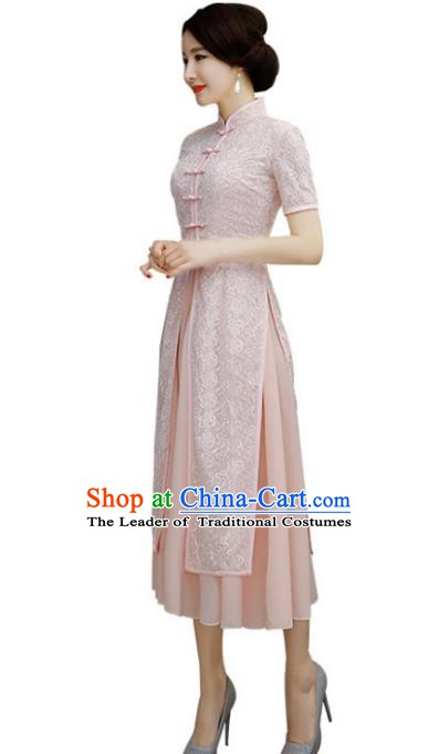 Chinese Traditional National Costume Elegant Embroidered Pink Lace Cheongsam Qipao Dress for Women