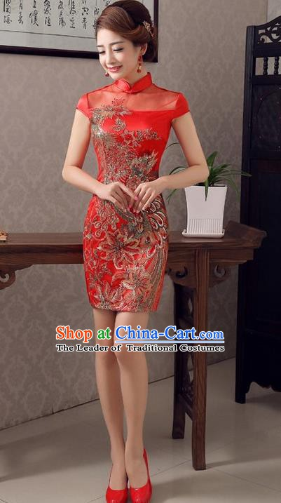 Top Grade Chinese National Costume Elegant Wedding Cheongsam Tang Suit Phoenix Qipao Dress for Women