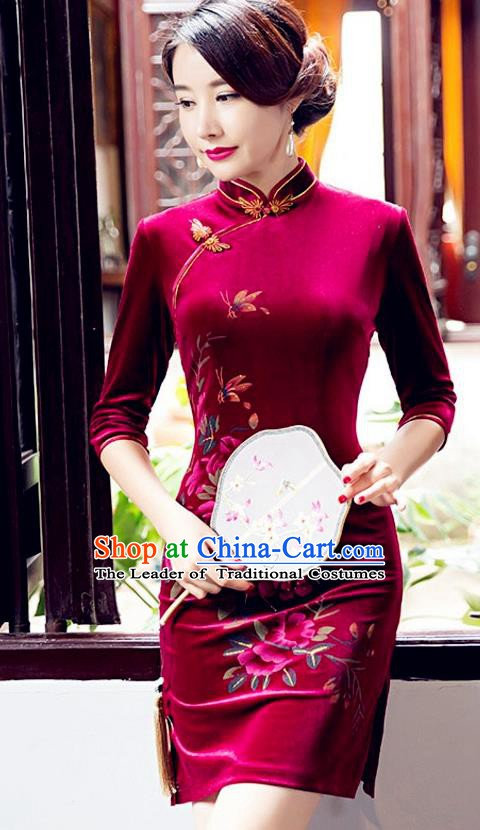 Top Grade Chinese National Costume Elegant Wine Red Velvet Cheongsam Tang Suit Qipao Dress for Women