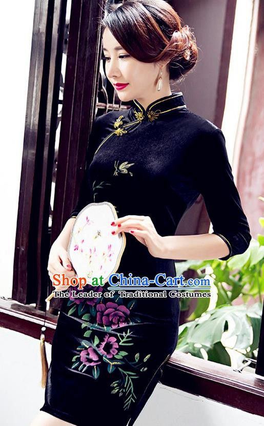 Top Grade Chinese National Costume Elegant Navy Velvet Cheongsam Tang Suit Qipao Dress for Women