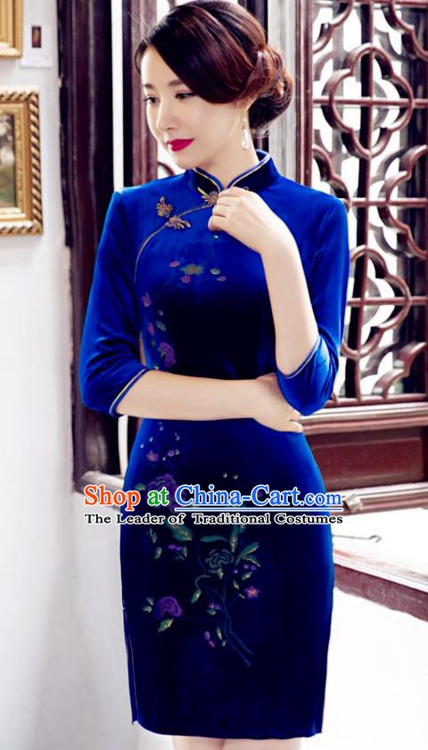 Top Grade Chinese National Costume Elegant Royalblue Velvet Cheongsam Tang Suit Qipao Dress for Women